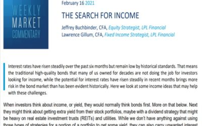 The Search for Income   Weekly Market Commentary   February 16, 2021