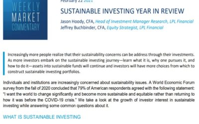 Sustainable Investing Year In Review   Weekly Market Commentary   February 22, 2021