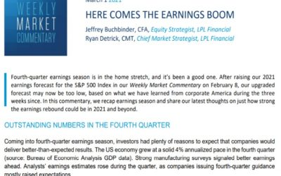 Here Comes The Earnings Boom   Weekly Market Commentary   March 1, 2021
