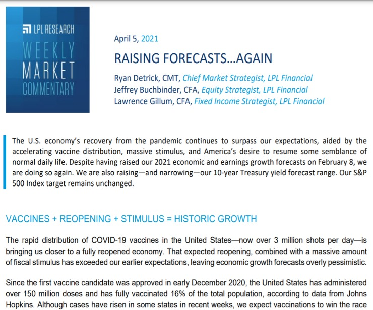 Raising Forecasts…Again | Weekly Market Commentary | April 5, 2021