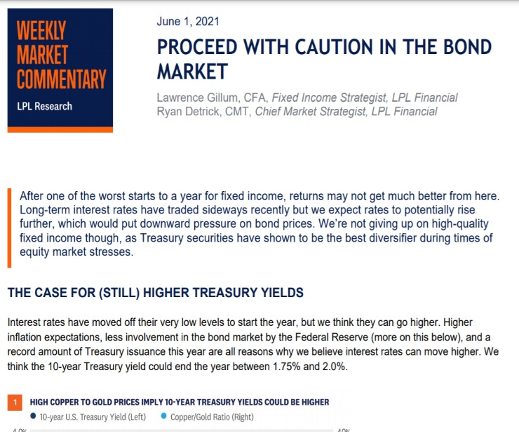 Proceed With Caution in the Bond Market   Weekly Market Commentary   June 1, 2021